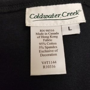 Coldwater Creek Tops - Coldwater Creek Large Black Floral Embroidered top